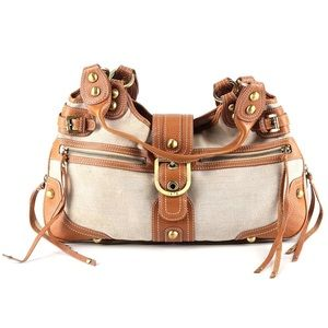 Rafe New York leather canvas hobo purse